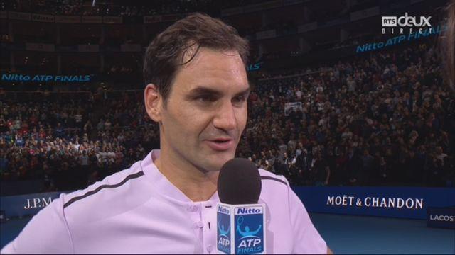 Groupe B, Federer (SUI) bat Sock (USA) 6-4 7-6, interview de Roger Federer [RTS]