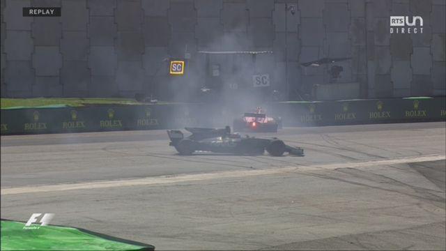 Course: bon départ des Ferrari et accrochages entre Ocon (FRA) et Grosjean (FRA) [RTS]
