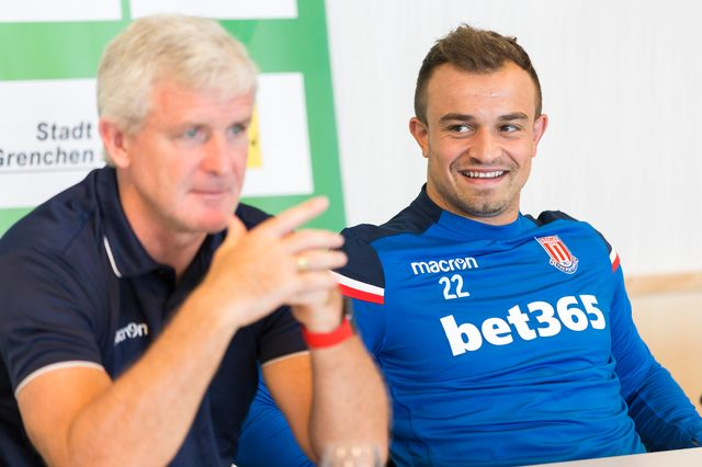 Le manager de Stoke est très satisfait de Shaqiri. [Cyril Zingaro - Keystone]