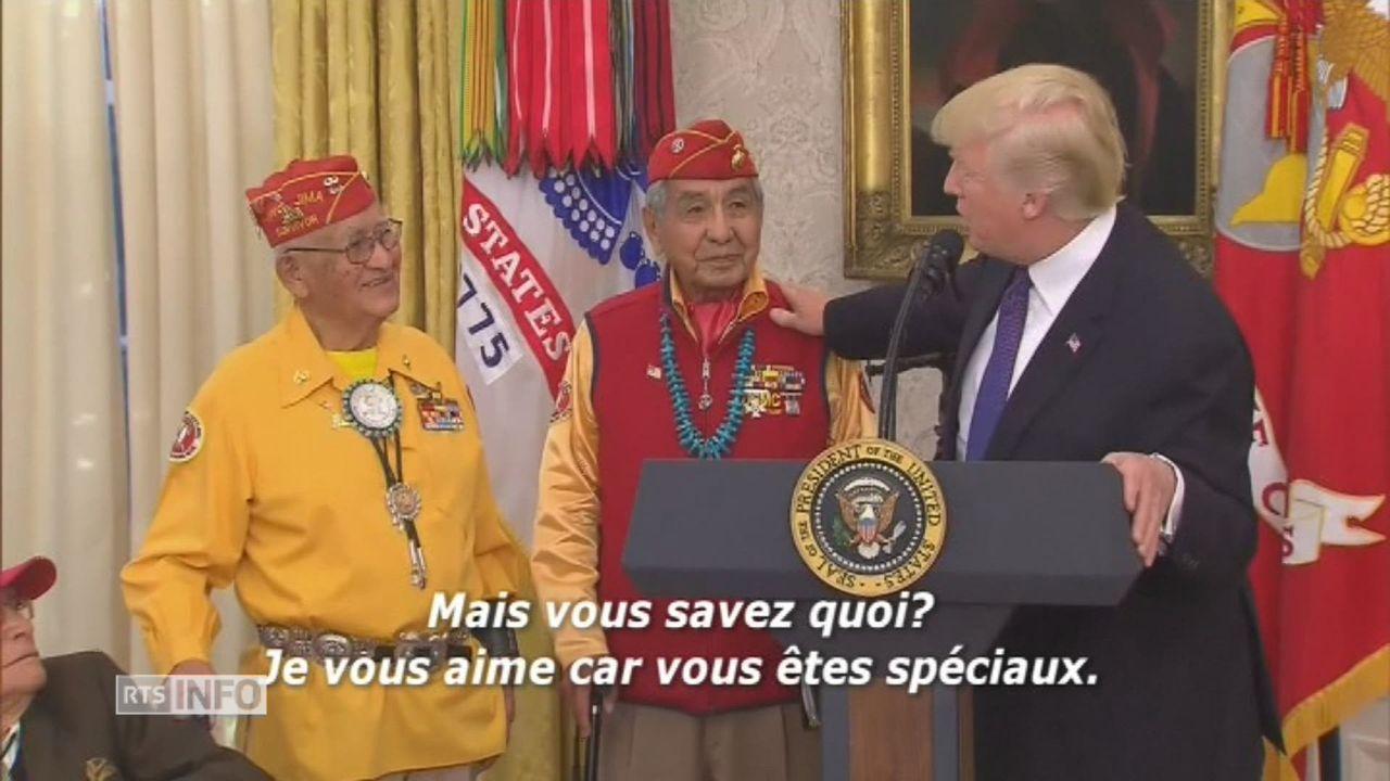 """Trump parle de """"Pocahontas"""" à des Amérindiens [RTS]"""