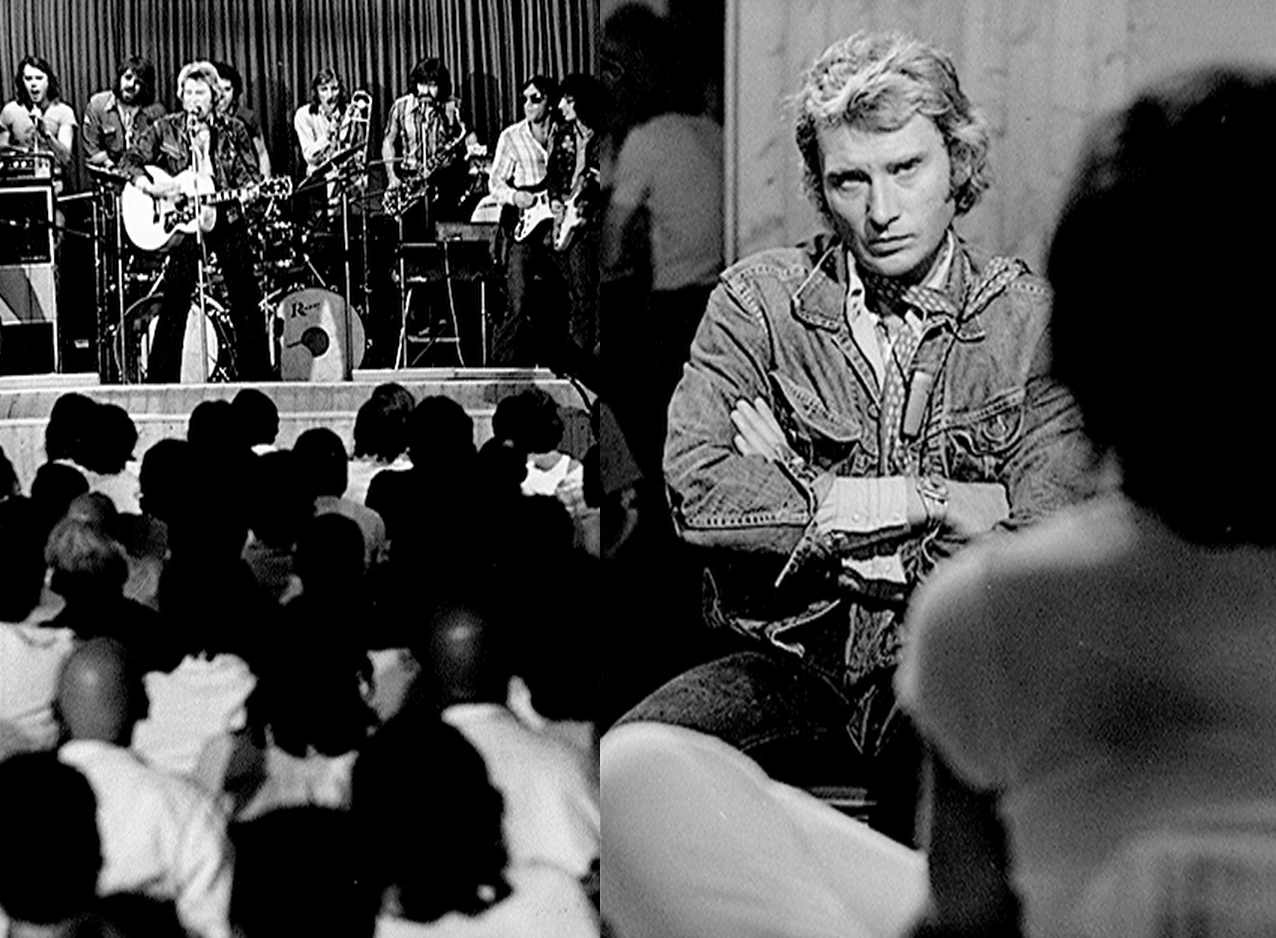Johnny Hallyday en émission à la prison de Bochuz (photomontage).
