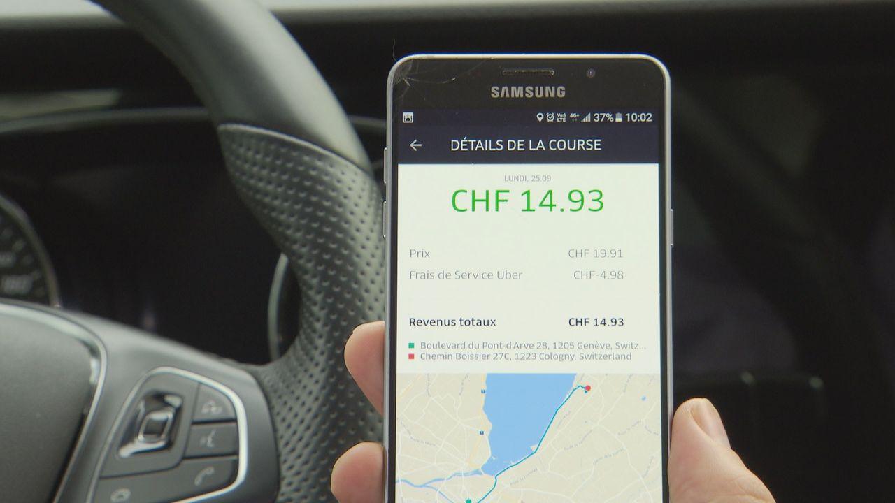 Image du prix d'une course dans l'application Uber. [RTS]