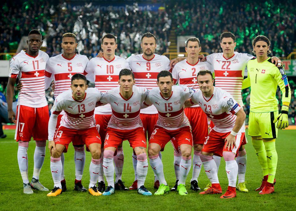 L'équipe de Suisse lors du match-aller face à l'Irlande du Nord en barrage de la Coupe du monde.  [Laurent Gillieron - Keystone]
