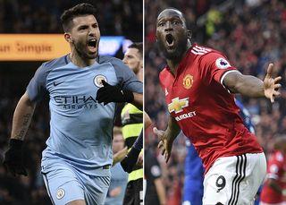 Sergio Aguero de Manchester City et Romelu Lukaku de Manchester United. [Oli Scarff - AFP]