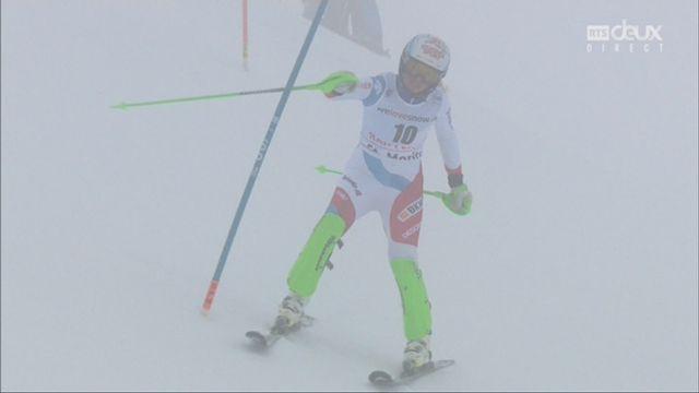 Combiné alpin, St-Moritz (SUI), 1e manche : Denise Feierabend (SUI) part à la faute [RTS]