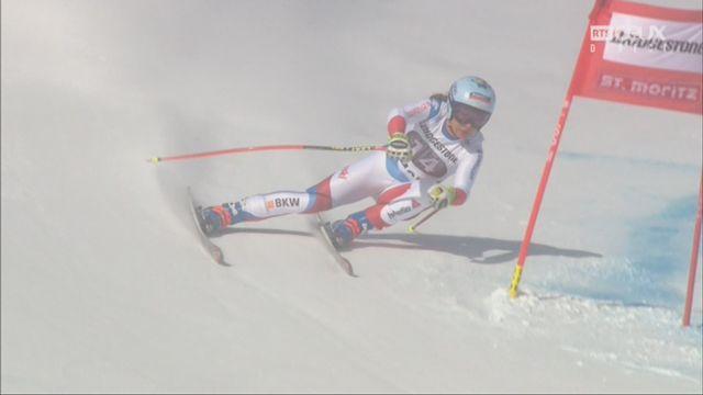 St. Moritz (SUI), Super G dames: Jasmine Flury (SUI) se place 1re devant Gisin (SUI) [RTS]