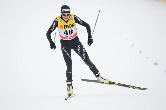 Nathalie von Siebenthal a décroché son meilleur résultat en Coupe du monde à Davos. [Gian Ehrenzeller - Keystone]