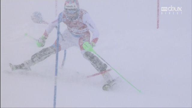 Slalom, Val d'Isère (FRA), 2e manche: élimination de Luca Aerni (SUI) [RTS]