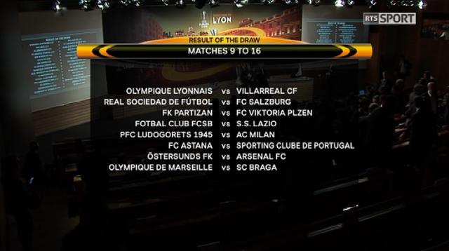 Le tirage au sort des 16es de finale de l'Europa League s'est déroulé lundi à Nyon. [RTS]