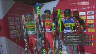Ski Cross, Coupe du monde, Arosa (SUI), 1-8: qualification des Suisses R. Detraz et T. Mueller pour les 1-4 de finale avant l'annulation de la course [RTS]