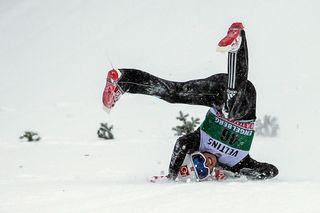 Week-end animé à Engelberg avec le retour du saut à ski en Suisse. [Alexandra Wey - Keystone]