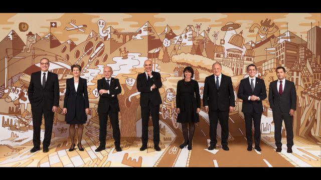 """La photo officielle 2018 du Conseil fédéral, intitulée """"Bundesart - la photo artistique du Conseil fédéral"""". [Stéphane Schmutz - Michel Cotting]"""