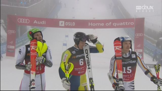 Oslo (NOR), slalom parallèle masculin, finale: Andre Myhrer (SWE) termine 1er [RTS]