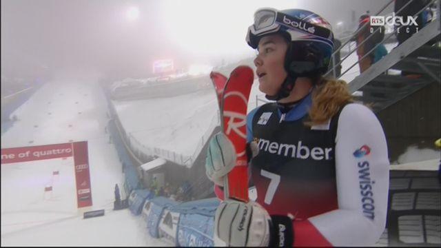 Oslo (NOR), slalom parallèle féminin, finale: Melanie Meillard (SUI) prend la 3e place devant Frida Hansdotter (SWE) [RTS]