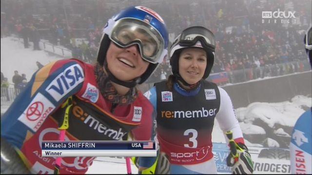 Oslo (NOR), slalom parallèle féminin, finale: Mikaela Shiffrin (USA) s'impose devant Wendy Holdener (SUI) et Melanie Meillard (SUI) [RTS]