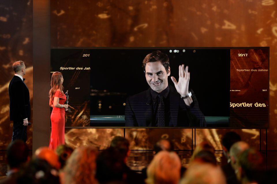 Federer a reçu le trophée de sportif suisse de l'année pour la 7e fois. [Daniela Frutiger/freshfocus - RTS]
