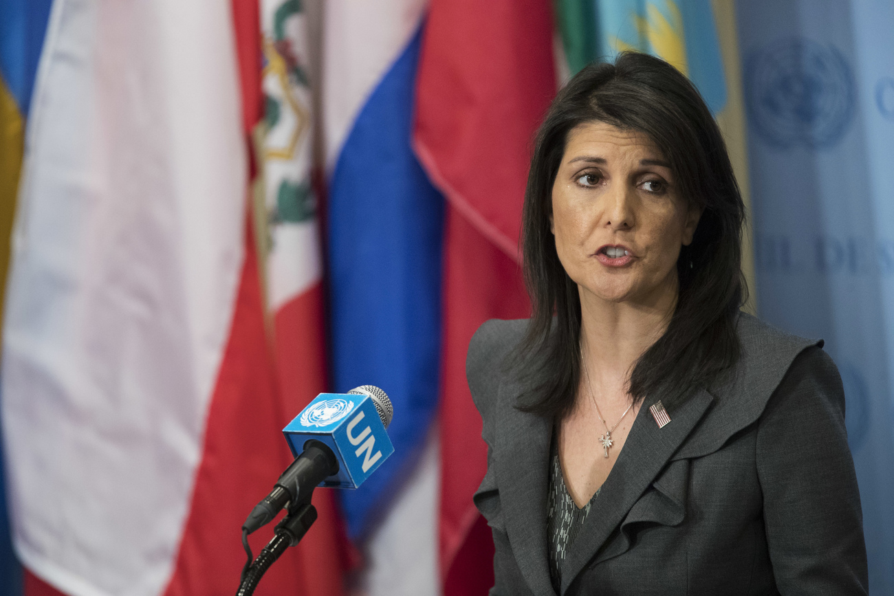 Nikki Haley, lors de son intervention à l'ONU.
