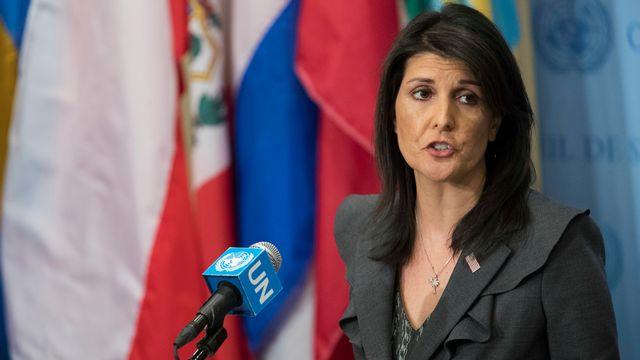 Nikki Haley, lors de son intervention à l'ONU. [Mary Altaffer - Keystone]