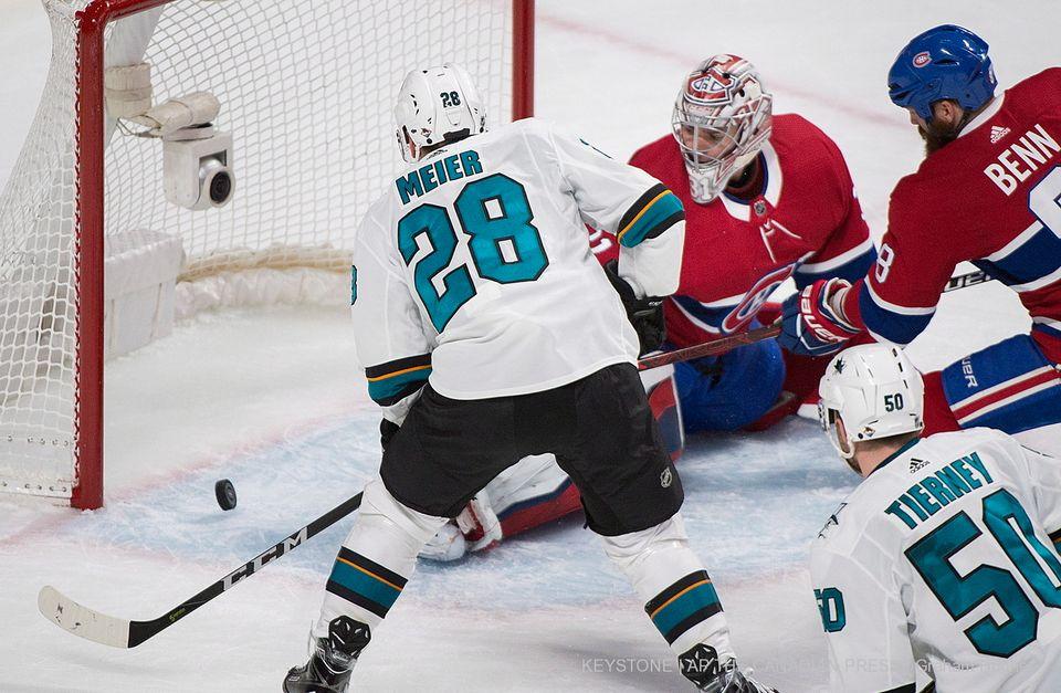 Timo Meier a inscrit son huitième but de la saison à Montréal. [Graham Hughes - Keystone]