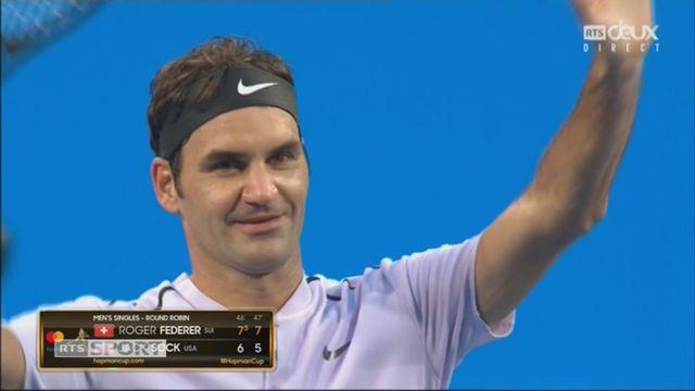 Suisse – Etats-Unis, Federer – Sock (7-6, 7-5) [RTS]