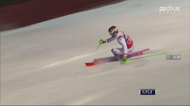 Zagreb (CRO), Slalom messieurs, 2e manche: Marcel Hirscher (AUT) s'impose devant son compatriote Matt et Kristoffersen (NOR) [RTS]