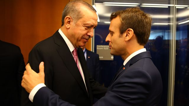 Les présidents turc Recep Tayyiip Erdogan et français Emmanuel Macron, en septembre 2017 à New York. [AFP]