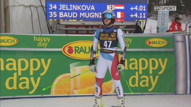 Maribor (SLO), géant dames, 1re manche: la descente de Camille Rast (SUI) qui termine à 4.23 de Schiffrin [RTS]