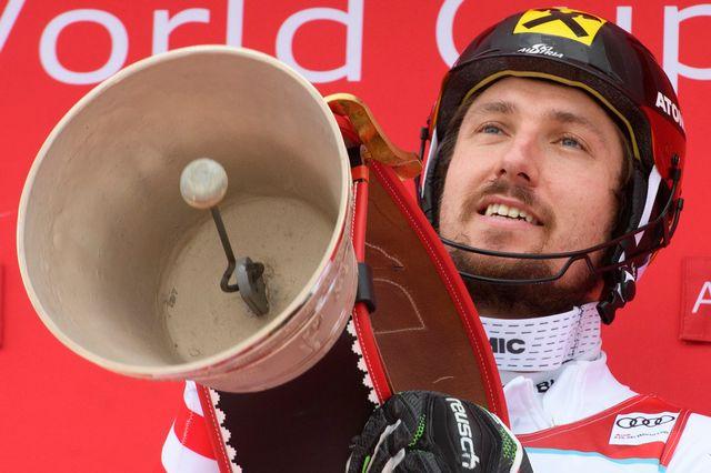 Marcel Hirscher repart d'Adelboden avec deux victoires et deux... cloches! [Keystone]