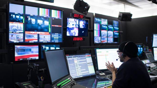 Régie TV de la chaîne alémanique SRF. [Ennio Leanza - Keystone]