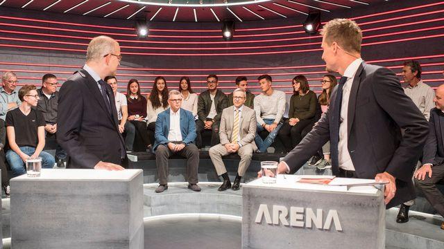 Plateau de l'émission de débats Arena, le 3 novembre 2017. [Ennio Leanza - Keystone]