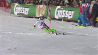 Flachau (AUT), Slalom dames, 1re manche: Denise Feierabend (SUI) [RTS]