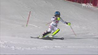 Flachau (AUT), Slalom dames, 1re manche: Bernadette Schild (AUT), meilleur chrono de la première manche [RTS]