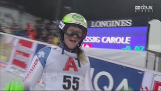 Flachau (AUT), Slalom dames, 2e manche: Carole Bissig (SUI) [RTS]