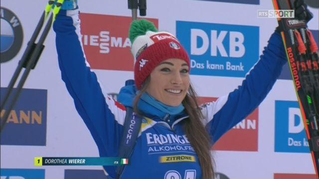 Biathlon, individuel dames: Dorothea Wierer ITA) remporte la victoire devant Makarainen (FIN) et Crawford (CAN) [RTS]