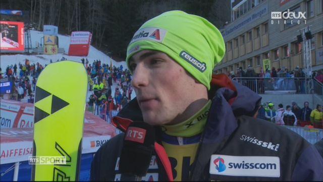 Wengen (SUI), 1re manche de slalom: Daniel Yule (SUI) au micro de la RTS [RTS]