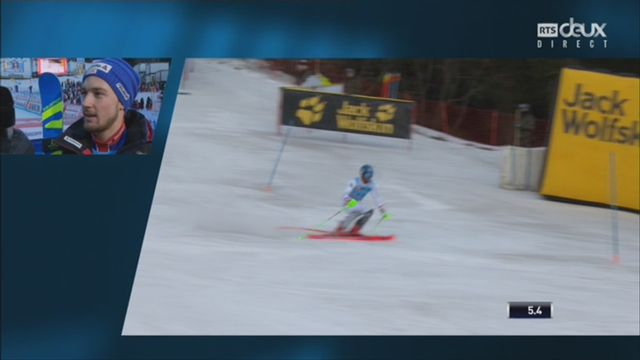 Wengen (SUI), 1re manche de slalom: interview de Luca Aerni (SUI) après son élimination [RTS]