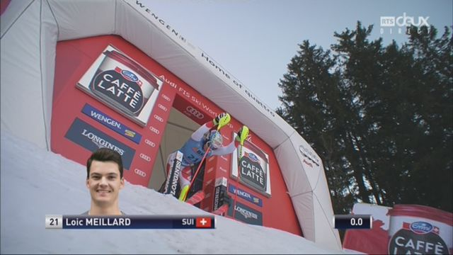 Wengen (SUI), 1re manche de slalom: Loic Meillard (SUI) part à la faute en tout fin de manche [RTS]