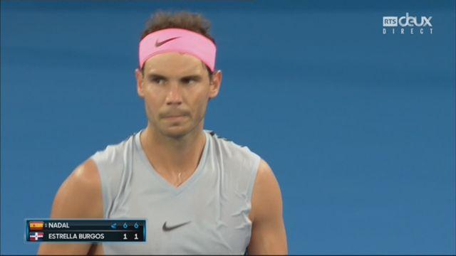 Messieurs, 1er tour: Nadal (ESP) – Estrella Burgos (DOM) (6-1, 6-1) [RTS]