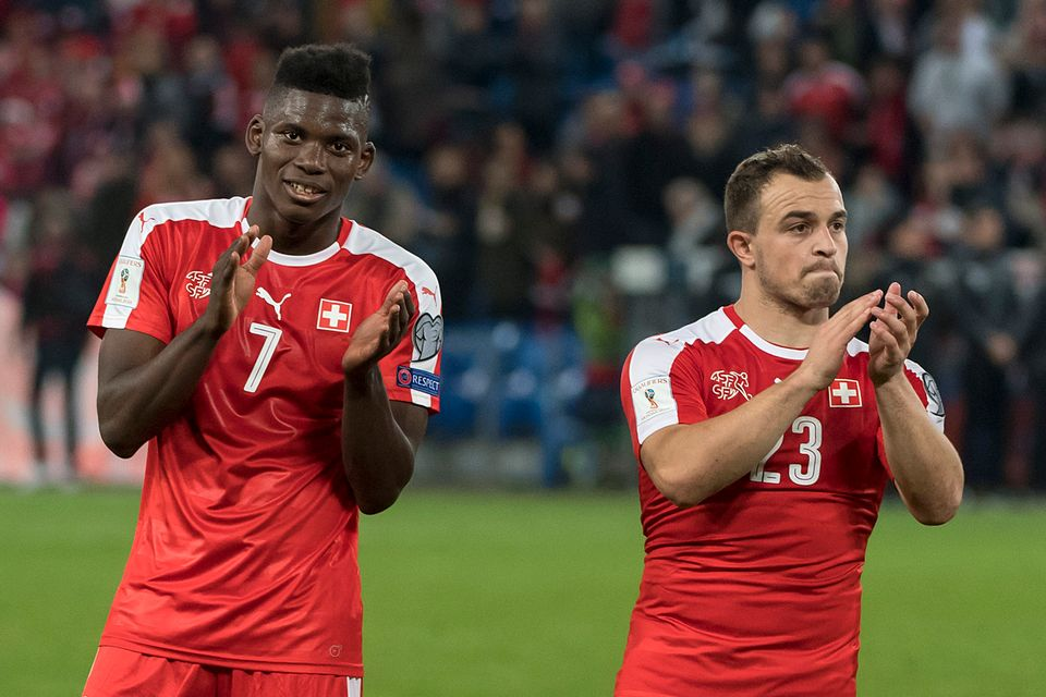 Embolo et Shaqiri commenceront la préparation pour le Mondial en Grèce. [Georgios Kefalas - Keystone]