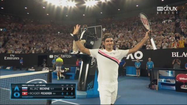 Messieurs, 1er tour: Bedene (SLO) battu par Federer (SUI) (3-6, 4-6, 3-6) qui se qualifie en trois manches [RTS]