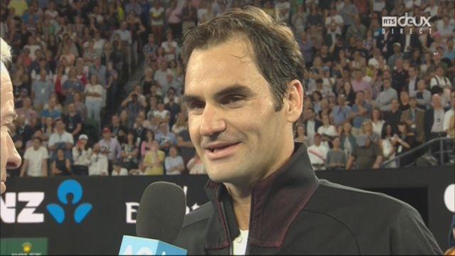 Messieurs, 1er tour:  la première réaction de Roger Federer (SUI) après sa victoire (3-6, 4-6, 3-6) au premier tour [RTS]