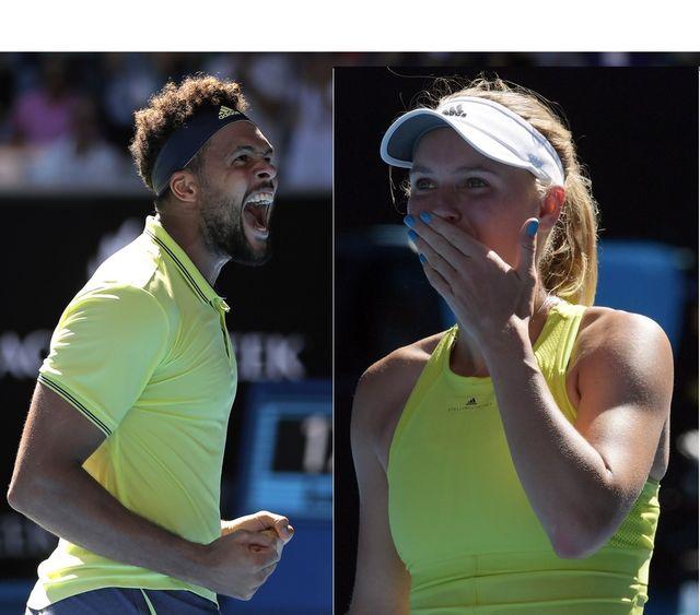Tsonga et Wozniacki disputeront vendredi les 16es de finale. [D.Alangkara/T.Nearmy - Keystone]