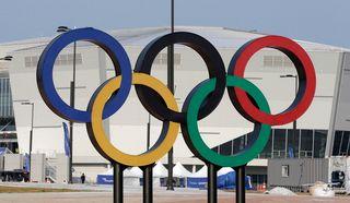 Les anneaux olympiques à PyeongChang en Corée du Sud. [Ahn Young-Joon - Keystone]