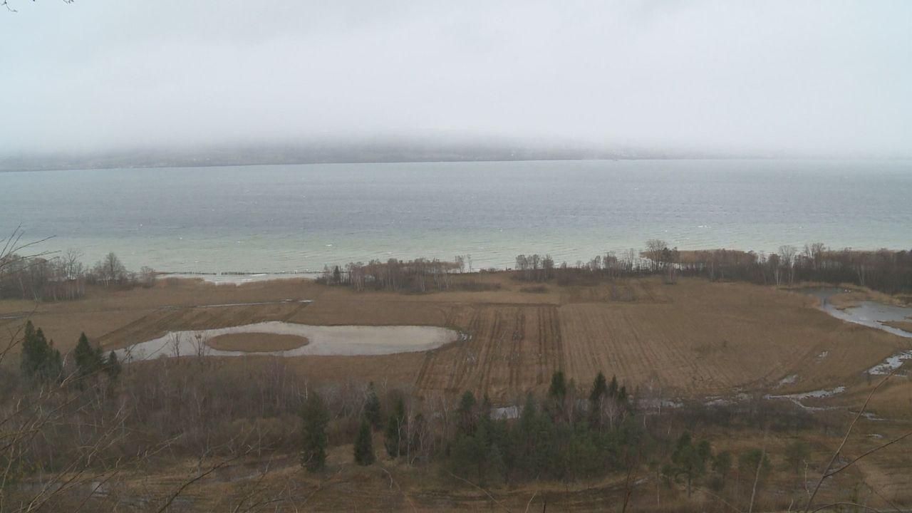 Le bord du lac de Neuchâtel, à Cheyres (FR), où a été retrouvé le corps de la Genevoise disparue. [RTS]