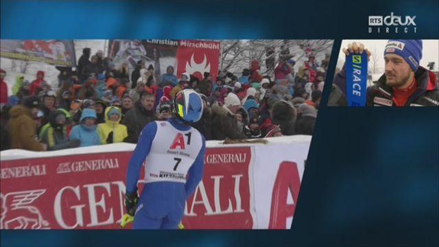 Kitzbuehel (AUT), slalom messieurs 2e manche: Luca Aerni (SUI) au micro de la RTS [RTS]