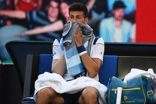 Djokovica a jeté toute ses forces dans la partie. En vain face au puissant Sud-Coréen. [Lukas Coch - Keystone]
