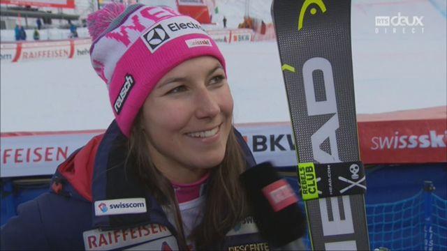 Dames, Combiné alpin, Lenzerheide (SUI), 2e manche : Wendy Holdener (SUI) au micro de RTSsport après sa victoire [RTS]