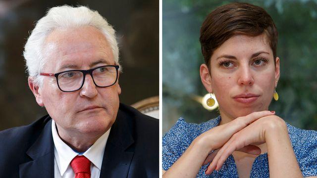 Le conseiller d'Etat genevois Luc Barthassat et la conseillère nationale Verte genevoise Lisa Mazzone. [Salvatore Di Nolfi - Keystone]