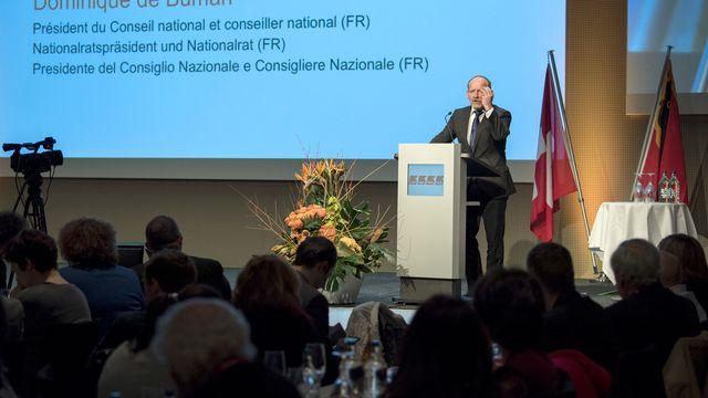 Le président du Conseil national Dominique de Buman, lors de l'assemblée des délégués du PDC, samedi 27 janvier 2018 à Berne. [Peter Schneider - Keystone ]