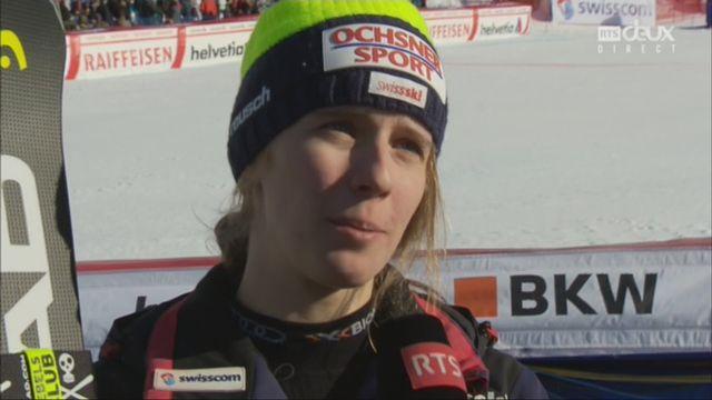 Géant dames, Lenzerheide (SUI), 2e manche: Camille Rast (SUI) au micro de la RTS [RTS]